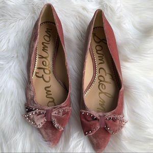 [Sam Edelman] Pink Velvet Pointy Toe Flats - 10